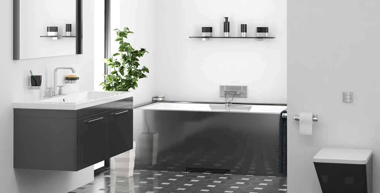 Bathroom-black-and-white-with-sunken-tub