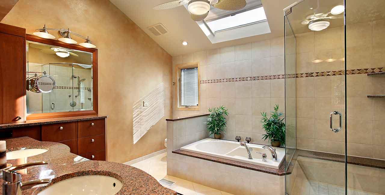 Bathroom-tan-cherry-sunken-tub