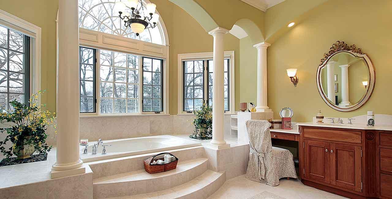 Luxury-bathroom-light-marble-sunken-tub
