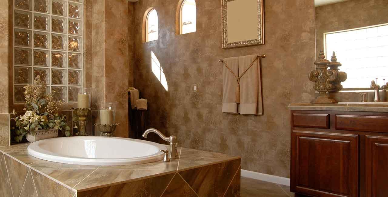 Luxury-bathroom-with-tan-marble
