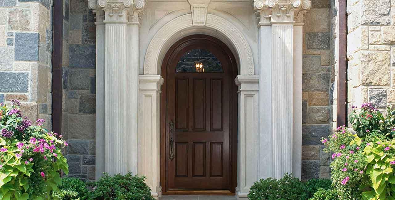 Wooden-front door & pillars-Ridgefield-CT