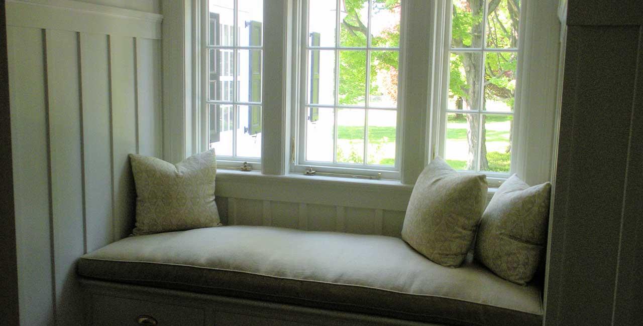 Wooden window seat area